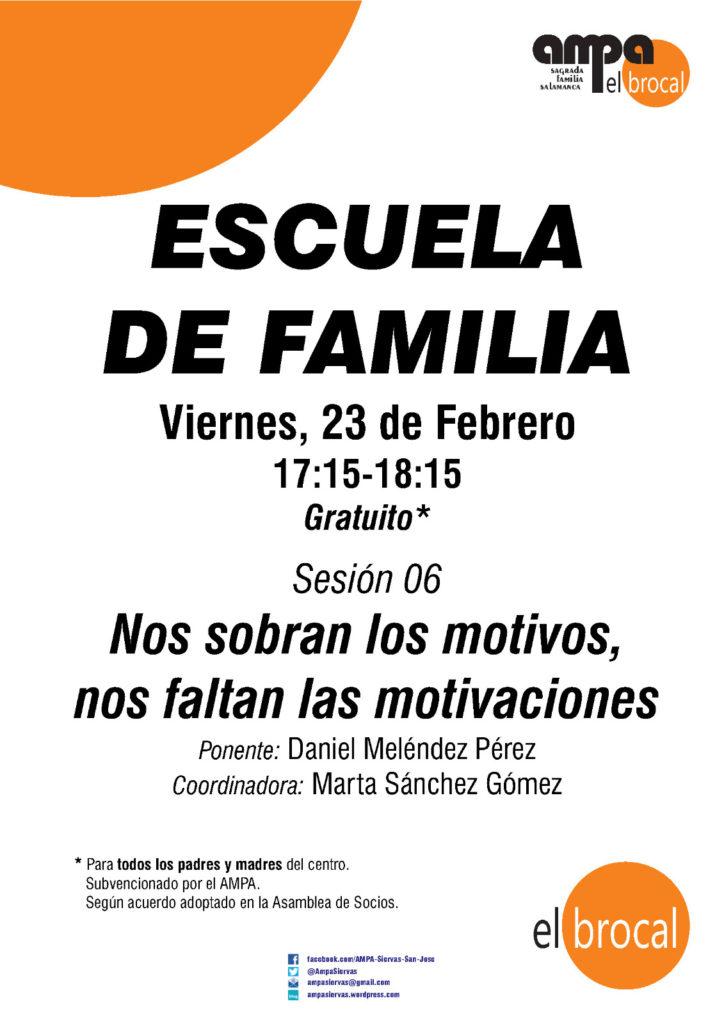 NUEVA SESIÓN DE LA ESCUELA DE FAMILIA